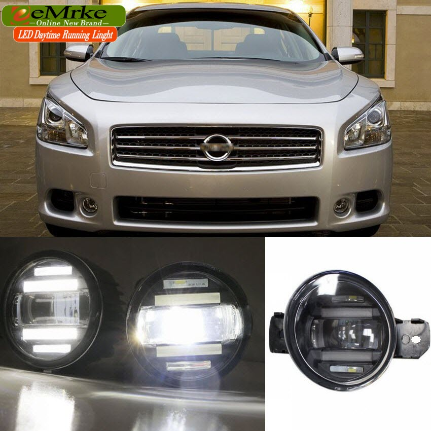 eeMrke Xenon White High Power 2in1 LED DRL Projector Fog Lamp With Lens For Nissan Maxima A35 2008-2014(China (Mainland))