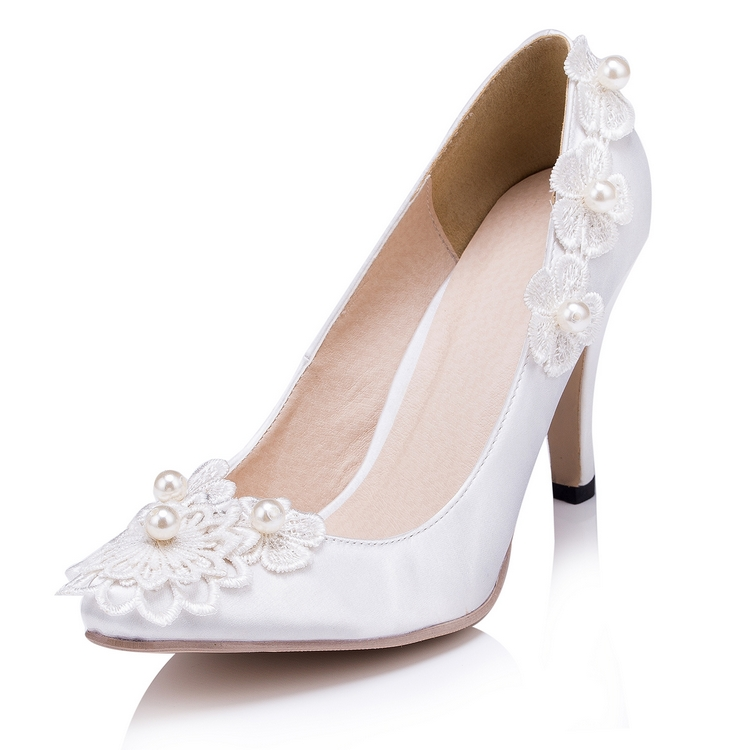 Spring Autumn Women Wedding Shoes White/Ivory Silk High Quality Ladies Party Pumps  EU33-41 618<br><br>Aliexpress