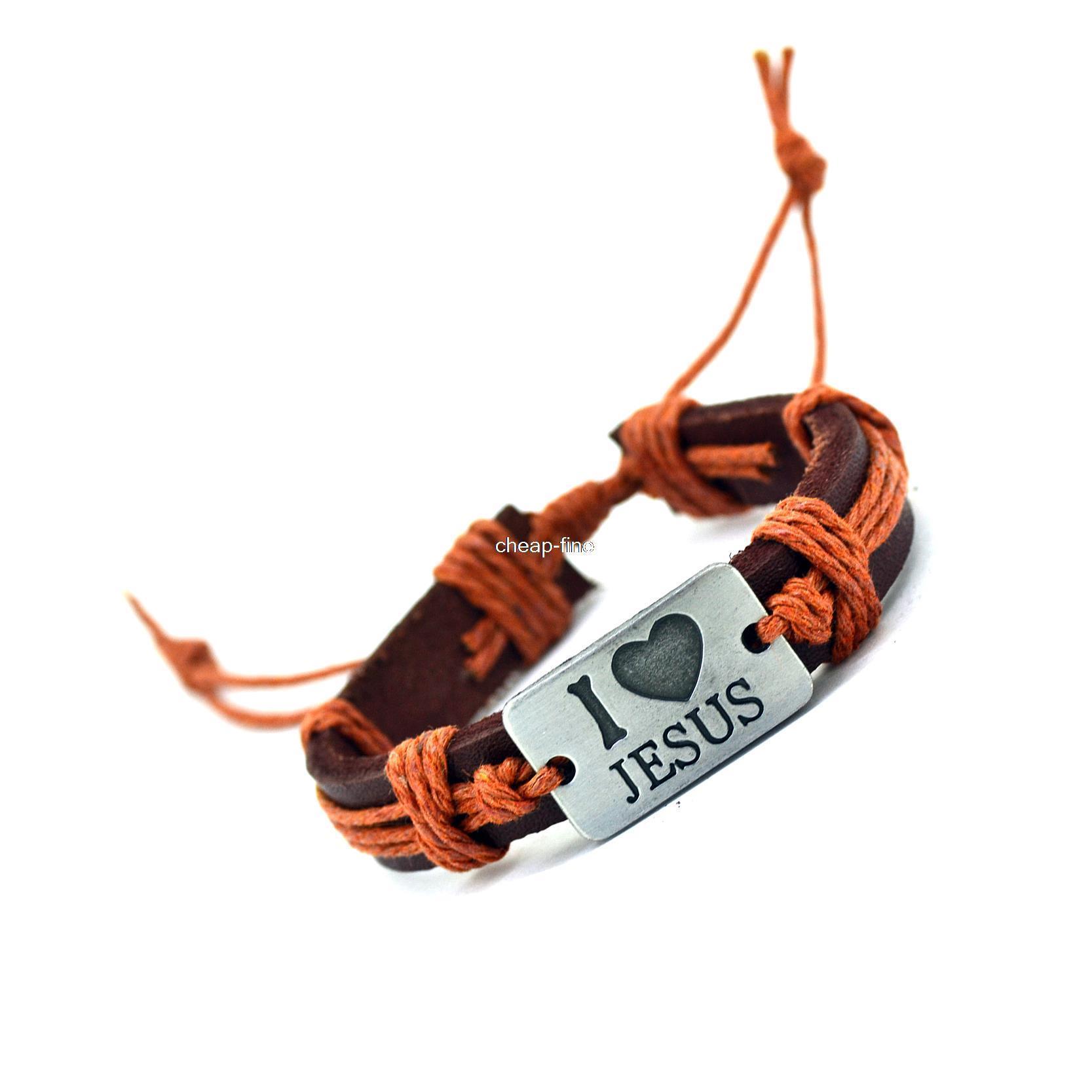 I Love Jesus Genuine Leather Charm Bracelet Cuff Braided Wrap Bracelet & Bangles Fashion For Women Men Gifts(China (Mainland))
