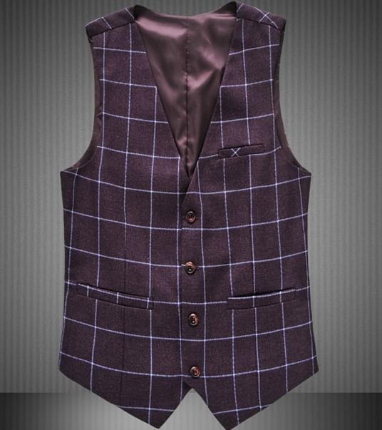 2015 Autumn New Plaid Vests Men Fashion Brand Waistcoat Men Fashion Grid Formal Suit Vests Men Plus Size 3XL 4XL 5XL 6XL 5Z