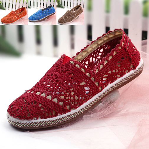 2015 Ladies Flat Lace Shoes Summer Style Round Toe Flats Women Cutouts Solid Shoes Women Moccasins Crochet Slip On Flats Women(China (Mainland))