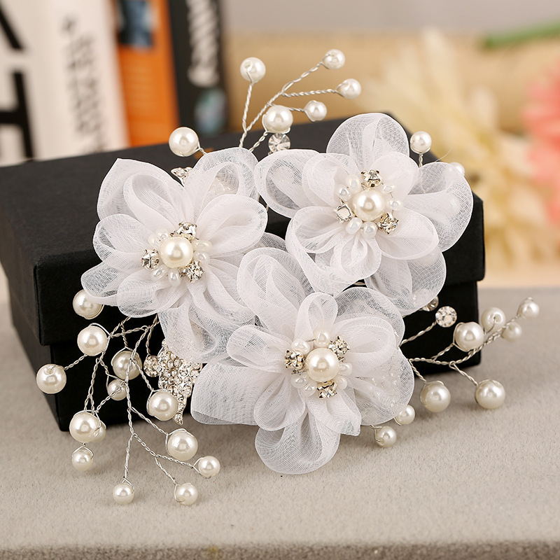 2015 pearl lace flower hair comb handmade bridal hair accessories wholesale silver white headpiece wedding Banquet jewelry(China (Mainland))