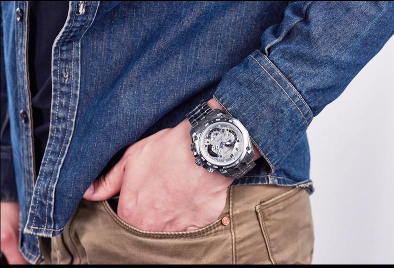 Viuidueture роскошных часов наручные часы стали полный водонепроницаемый мода кварцевые часы Relogio Masculino erkek коль саати