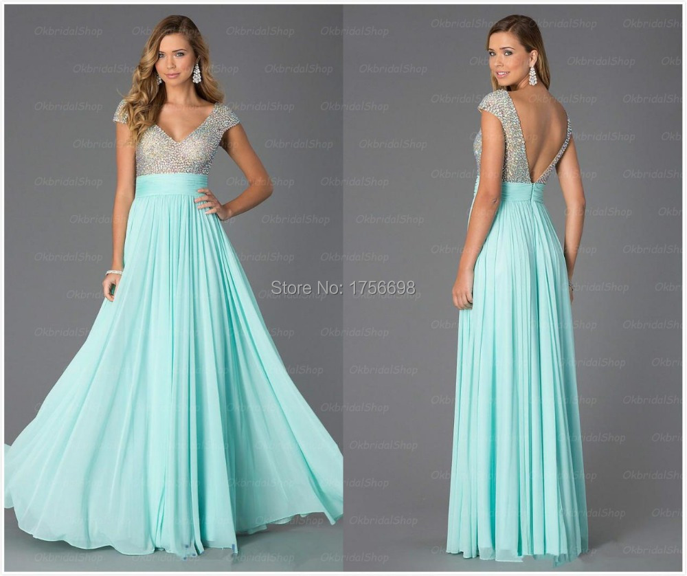 2015 High Quality Crystal V- Neck Ice Blue Long Prom Dresses Grace Chiffon Open Back Special Occasion Prom Dresses Galajurken(China (Mainland))