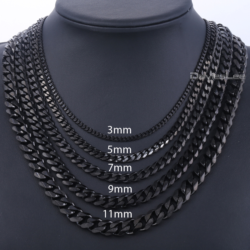 Davieslee 3/5/7/9/11mm 18-36inch Mens Boys Black Tone CURB CUBAN Link Necklace Stainless Steel Chain Wholesale Price DLKNM09(China (Mainland))