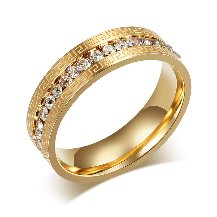 2016 unique design 18k gold color titanium stel jewelry female wedding bands promise rings for woman(China (Mainland))
