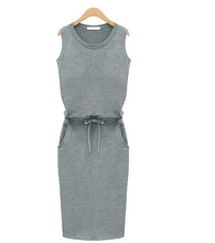 2015 Fashion Women Summer Slim Dress Trend Grey Sleeveless With Belt Dress Pencil Casual Dresses Cheap Clothes China 5069(China (Mainland))