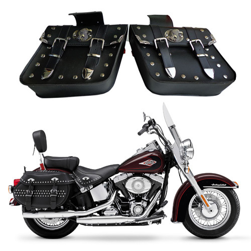 NEW 2 x universal Motorcycle Saddlebags Saddlebags Left & Right Pouch for Harley Chopper(China (Mainland))