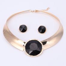 6 צבע נשים תכשיטי סטים אופנתיים שרשרת עגילי הצהרת שרשרת עבור מסיבת חתונה אופנה 2017 מכירה ישירה(China)