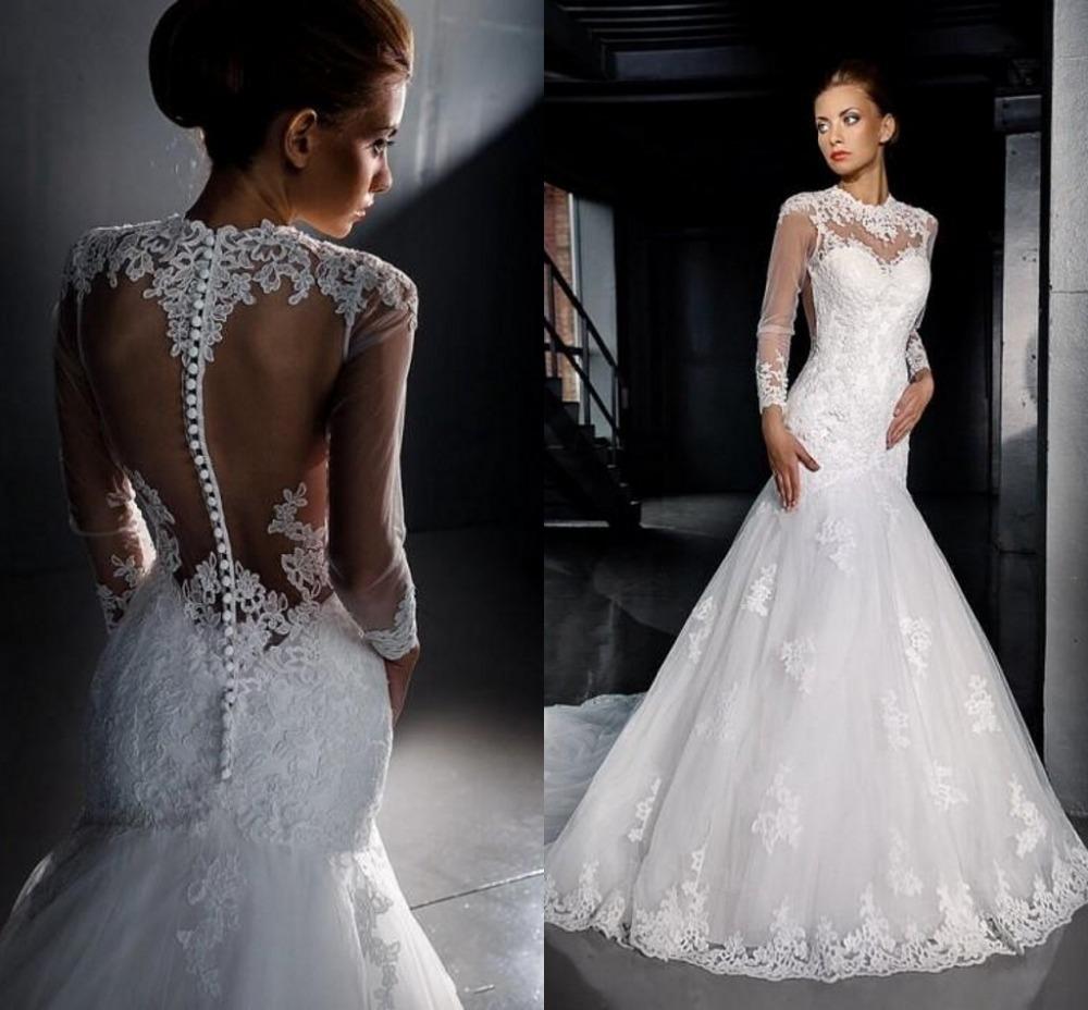 Aliexpress Buy 2015 Elegant Mermaid Dresses Sheer Covered Button Back Long Sleeve Applique