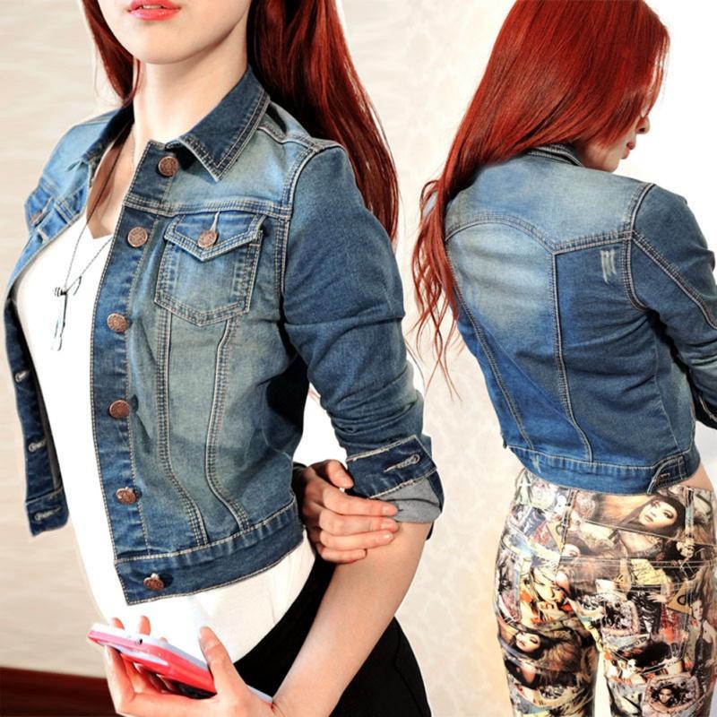 Vintage Women Long Sleeve Coat Slim Denim Short Casual Jean Jacket OuterwearОдежда и ак�е��уары<br><br><br>Aliexpress
