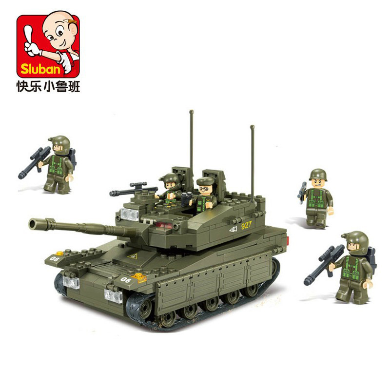 Sluban B0305 344pcs plastic world of tanks eductional bricks blocks kids toys Military Army Model Makava Tank(China (Mainland))