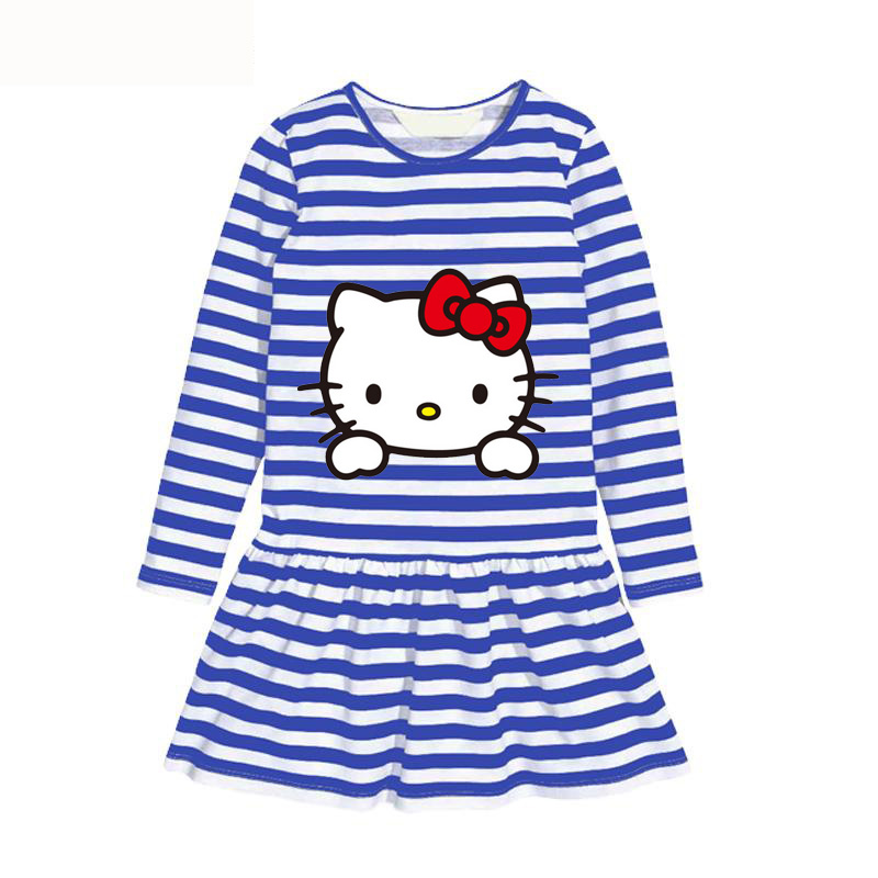 Hot sale autumn girls dress hello kitty baby girls clothes cotton long sleeve children dress cartoon fashion clothing for girls(China (Mainland))