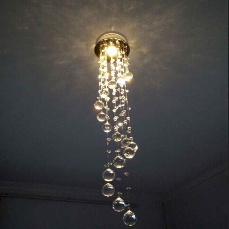 Long Spiral Crystal Light lustres Ceiling Light / Lamp small cristal Lighting Fixture for Stair / Foyer/ Hallway corridor lamp<br><br>Aliexpress