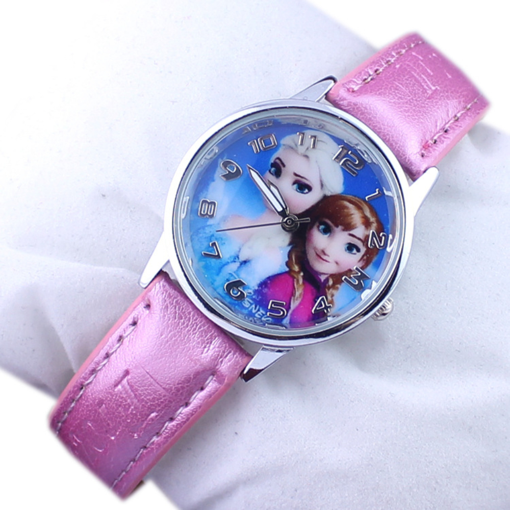 New Snow Queen Princess Elsa Anna Cartoon Watch Leather Quartz Children Kids Wrist Watches Girls Gifts Clock(China (Mainland))