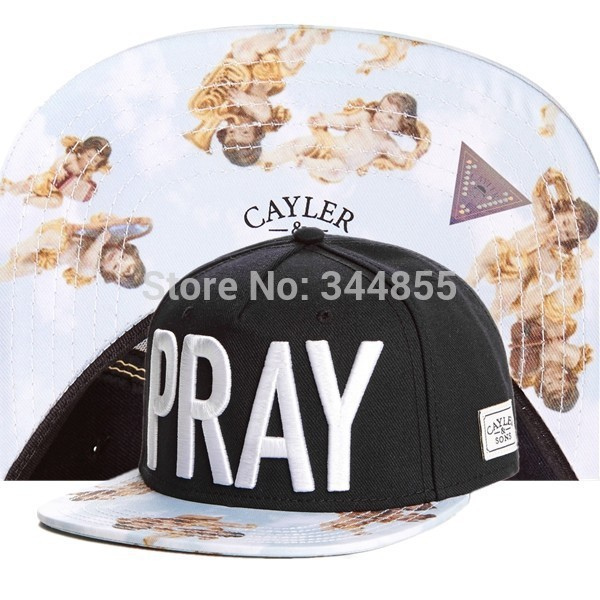 CAYLER&SONS PRAY The Anges Black Color Snapback Hats Women's,Fashion Sport Hip Hop Adjustable Caps,Leopard Casual Hats Men's(China (Mainland))