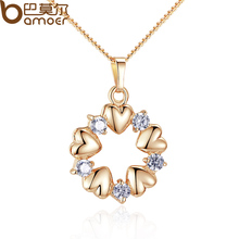 BAMOER Luxury 18K Gold Plated Heart Necklaces & Pendants with AAA Zircon For Women Anniversary Jewelry JIN018(China (Mainland))