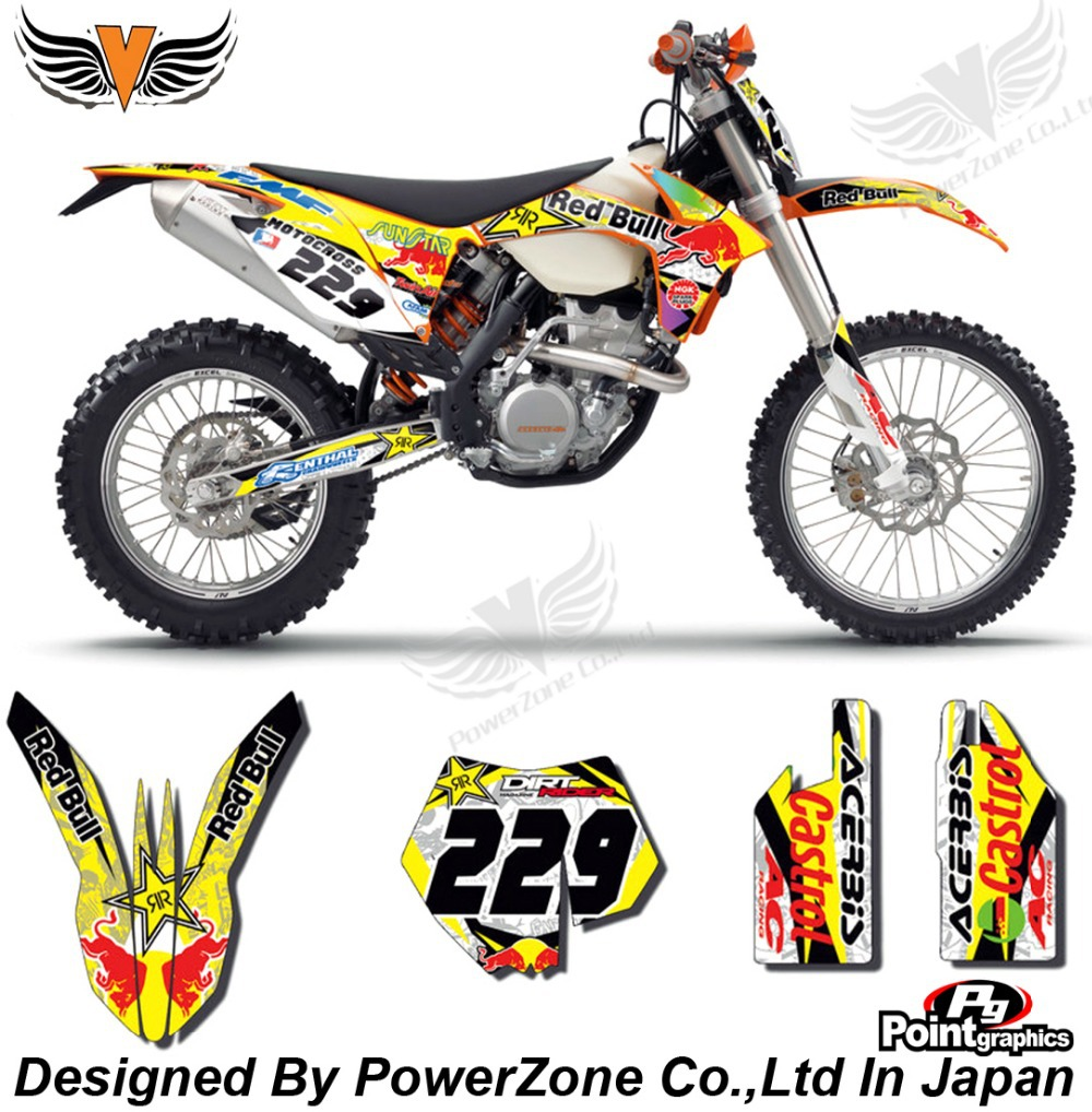 Top Quality Team Graphics & Backgrounds Decals 3M Ye Red Stickers Kits KTM SX SXF EXC 125 250 450 525 1998-2014 Free Shpping