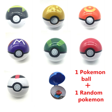 1pcs Pokeball + 1pcs Free Random Pokemon Figures Anime Action Figures Toys Cosplay Collections Gifts Pikachu Super Master 7cm