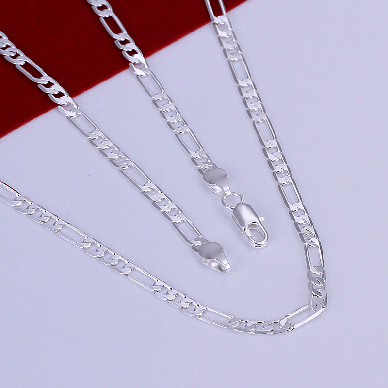 925 Necklace Men s Sterling Silver 925 Figaro Chain Necklace 2mm 16 30 Fashion Cheap 925
