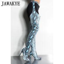 Aşırı Uzun Çizmeler kadın gece kulübü Yüksek Topuklu yılan derisi Sahne kemerler kesme pantolon diz patik uyluk yüksek çizmeler(China)