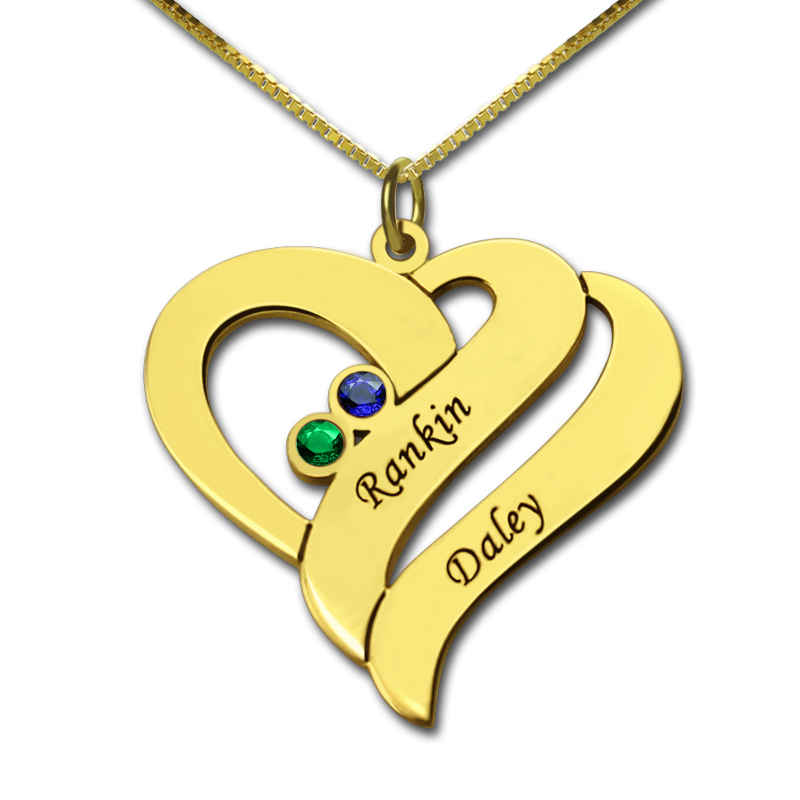 Personalized Two Name Hearts Necklace Gold Engraved Initial Hearts Pendant with Birthstone Dainty Necklace For Mom<br><br>Aliexpress