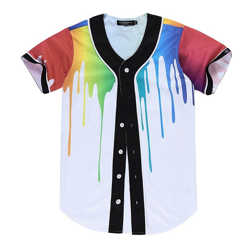 New Brand Unisex Baseball Shirts Mens Button-Down 3D Print Rainbow Jersey Casual V-neck Short Sleeve Fancy Shirts Men XXXL