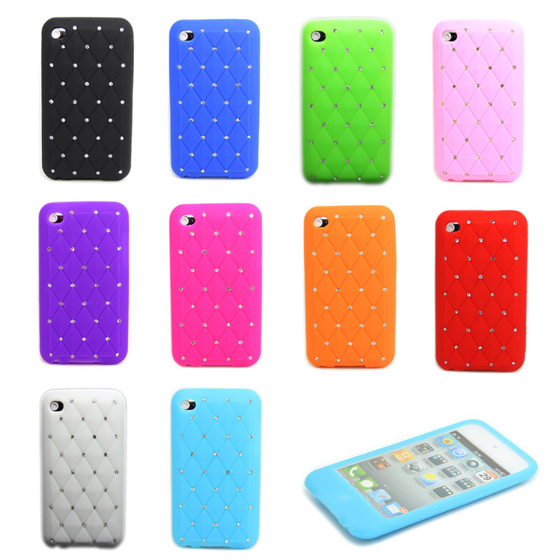 Bling Crystal Diamond Soft Silicone Case Cover For Apple iPod Touch 4 4Gen(China (Mainland))
