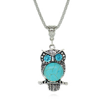 2015 New Round Turquoise Vintage Sterling Silver Jewelry Crystal Owl Collares Fashion Statement Necklace for Women Fine Jewelry