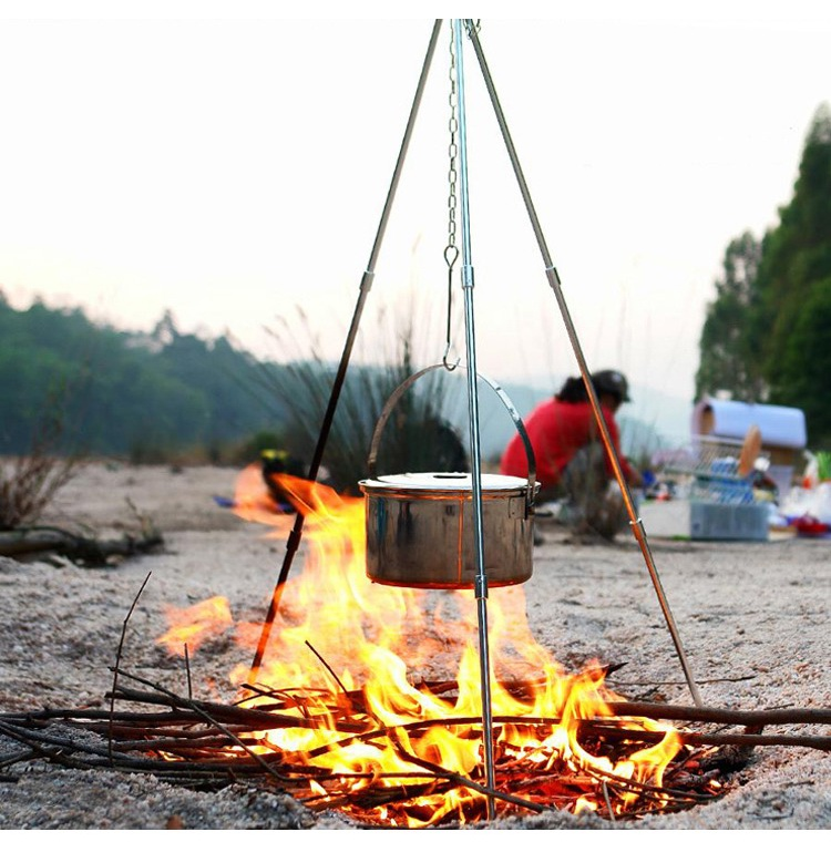 Portable Outdoor Cooking Tripod Professional Camping Tripod Hanger Pot with 2 Hooks Picnic BBQ Accessories(China (Mainland))