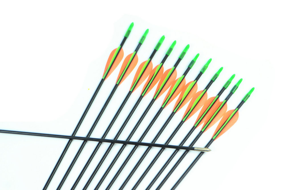12pcs pack 31 79cm Long Spine 800 Color Orange Yellow Steel Point Fiberglass Hunting Arrows for