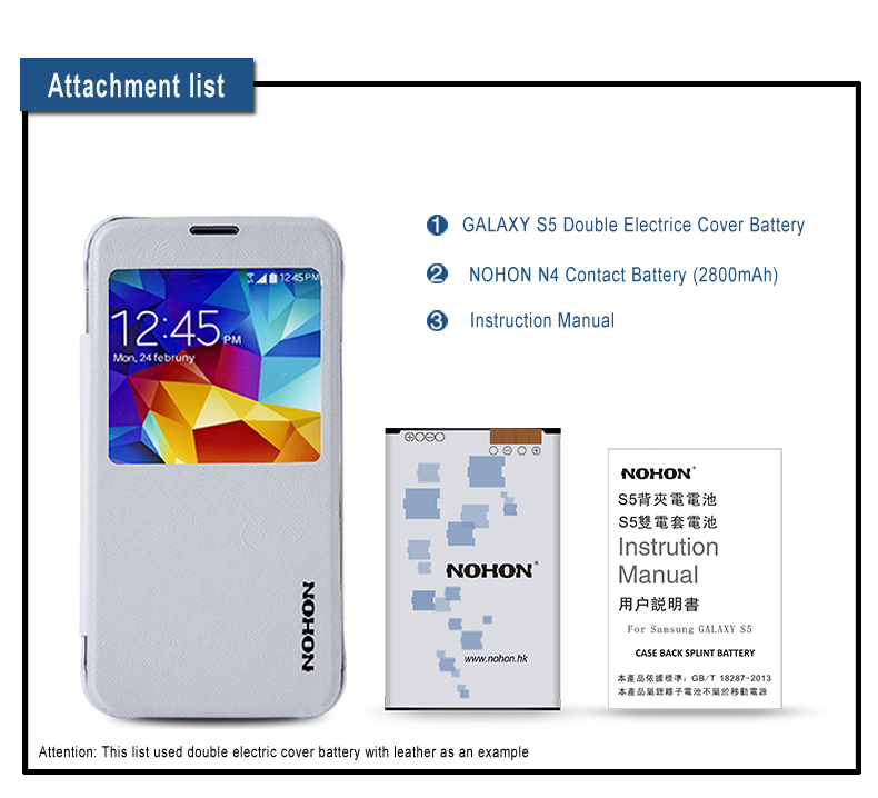 Top Quality 2800mAh NOHON Phone Back Cover Battery Double Electric Housing Door Batteries For Samsung Galaxy S5
