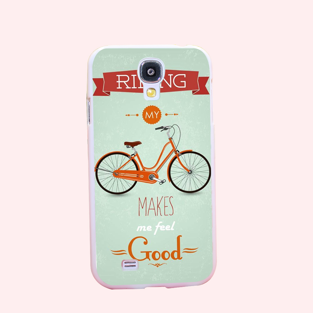 Retro Bicycle Make Feel Good Hard White Cover Case for Galaxy S3 S3 mini S4 S4 Mini S5 S5 Mini S6 S6 edge(China (Mainland))