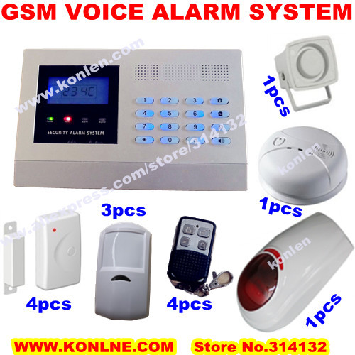 dhl free ship wireless gsm alarm system with lcd sms voice keypad speaker smoke fire alarm. Black Bedroom Furniture Sets. Home Design Ideas