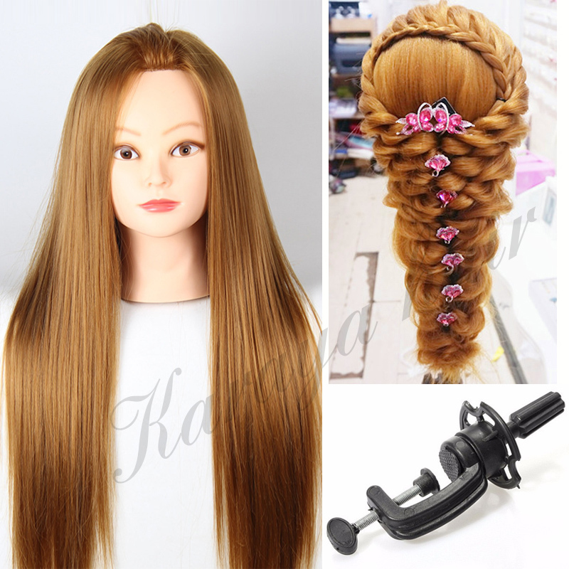 Training Head with Wig Heat Resistant with Hair Dummy Doll Heads Hair ...