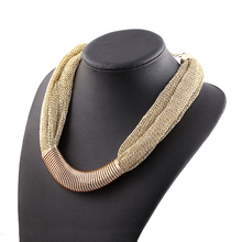 New 2014 Top Quality Brand Design Fashion Luxury Jewelry Necklace Gold Plated Charm Elegant Singapore Chain Statement Necklace