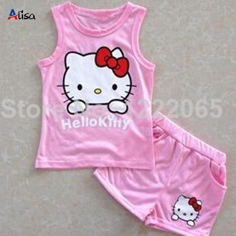 2014 Hot Summer girls' suits Hello kitty KT Cat cartoon baby suit short-sleeved T-shirt + shorts Set girls baby kids child cloth(China (Mainland))