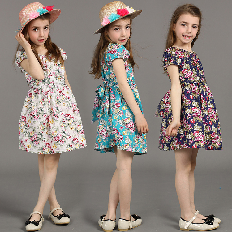 Hot Sale!2015 New Girl Dress Summer Fashion Printed party Dress Baby Girls Dress Cotton Childrens Clothing dresses for girls<br><br>Aliexpress
