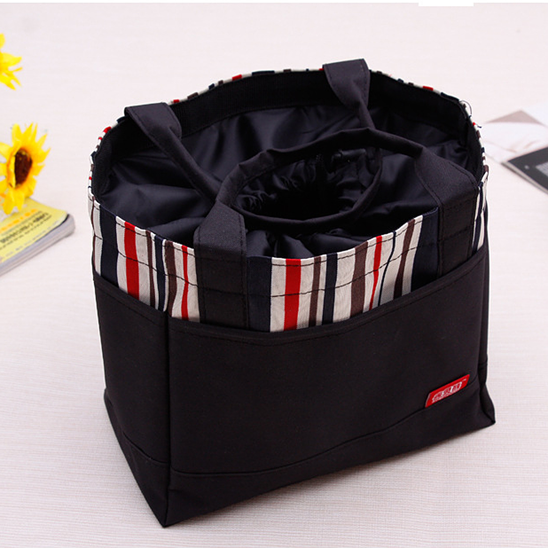 Stripes Lunch Box Storage Bag Portable Picnic Tote Pouch with Drawing String - Dark Blue,Coffee,Black,Green(China (Mainland))