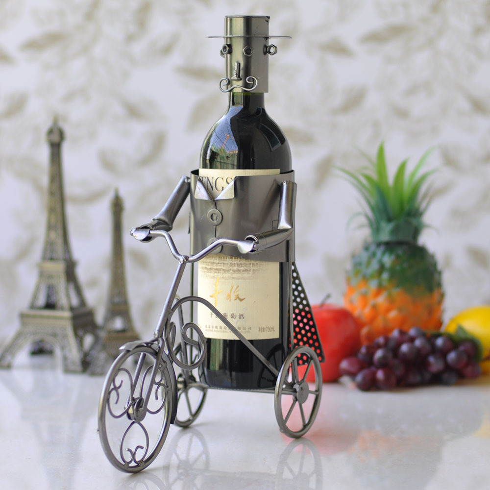 Free shippingiron tricycle wine rack wine bar soft home for Wine home decorations