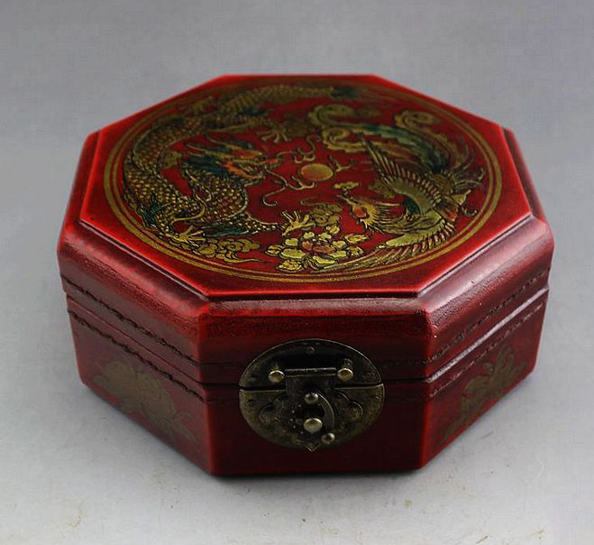 Exquisite Octagonal Chinese Old-style Wood Leather Handwork Jewel Box , Painted with Dragon and Phoenix(China (Mainland))