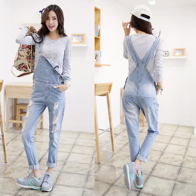 2015  Plus Размер Korean Женщиныs Jumpsuit Джинса Overalls Повседневный Skinny ...