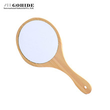 Gohide Fashion Handmade Wood Handle Pocket Wood Mirror Vintage Wood Small Detachable Mirror Desktop Single Face Mirror Press(China (Mainland))