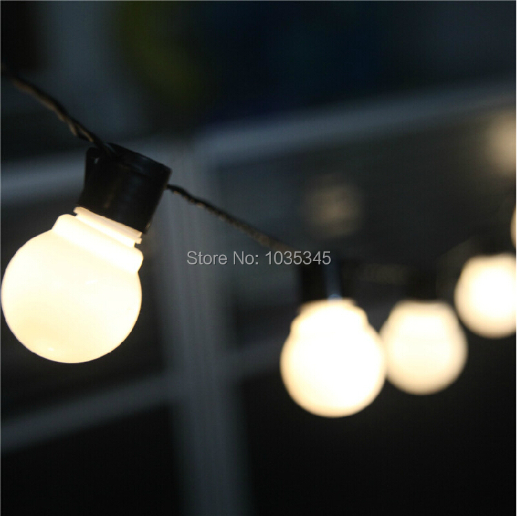 Novelty Outdoor lighting 5cm big size LED Ball string lamps Black wire Christmas Lights fairy wedding garden pendant garland(China (Mainland))