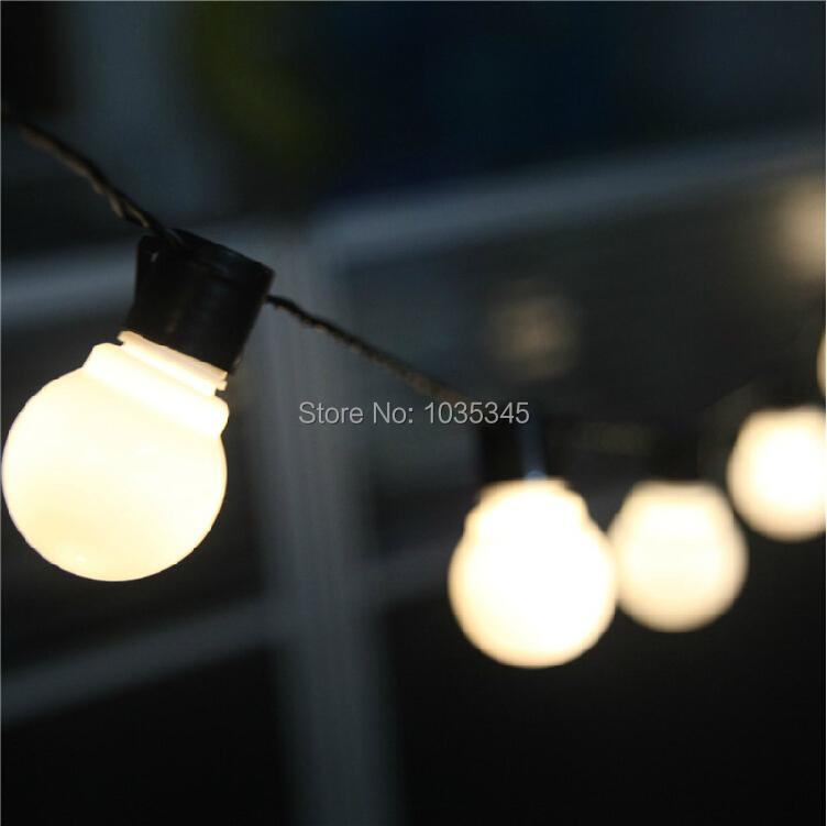 Novelty Outdoor lighting 5cm big size LED Ball string lamps Black wire Christmas Lights fairy wedding garden pendant garland(China (Mainland))
