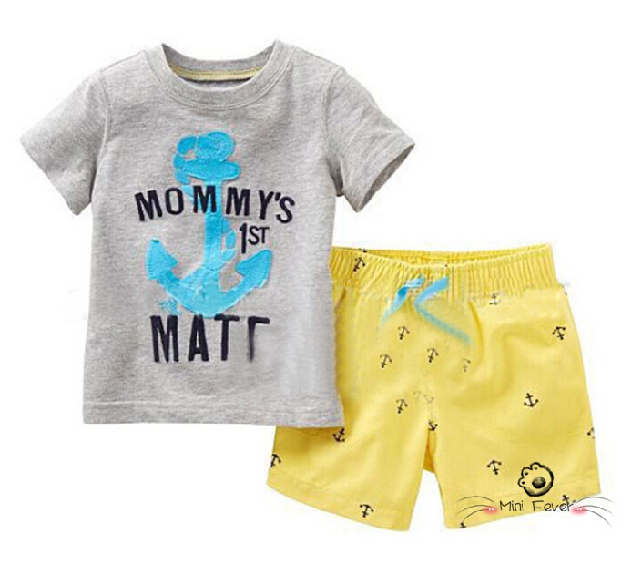 Free Shipping Summer Baby Boys Anchor Letter T-shirt Shorts Pants Two Piece Suit Toddler Kids Clothes Suit Children Outfits Sets(China (Mainland))