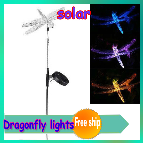 2pcs/lot new lovely solar powered colorful Dragonfly Light,outdoor colorful solar garden Landscape Dragonfly light Wholesale