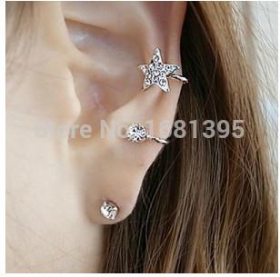 2016 Hot Fashion New flash imitation diamond stars unique ear clip ear bone screws Wholesale Jewelry Accessories free shipping(China (Mainland))