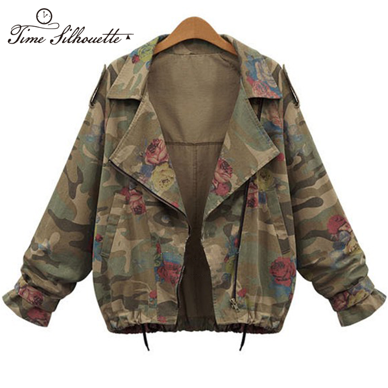 2016 New Arrival Jacket Women Army Green Rose Print Camouflage Jacket Chaquetas Mujer Fall Women Jackets Coat TS105(China (Mainland))