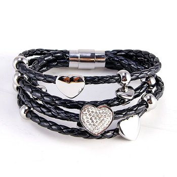 NSB331 wholesale plated platinum gold bracelet customize high-quality real Leather charm titanium Stainless Steel Clasp Bracelet